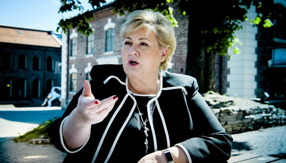 SELVKRITIKK: Statsminister Erna Solberg (H) tar selvkritikk på formuleringen hun kom med i et intervju med VG. Hun må nå svare Stortinget om politivolden i USA. Foto: Lars Eivind Bones / Dagbladet