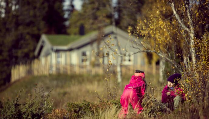 ALLE TRIVES PÅ HYTTA: Selv de minste i familien elsker å være på hytta.