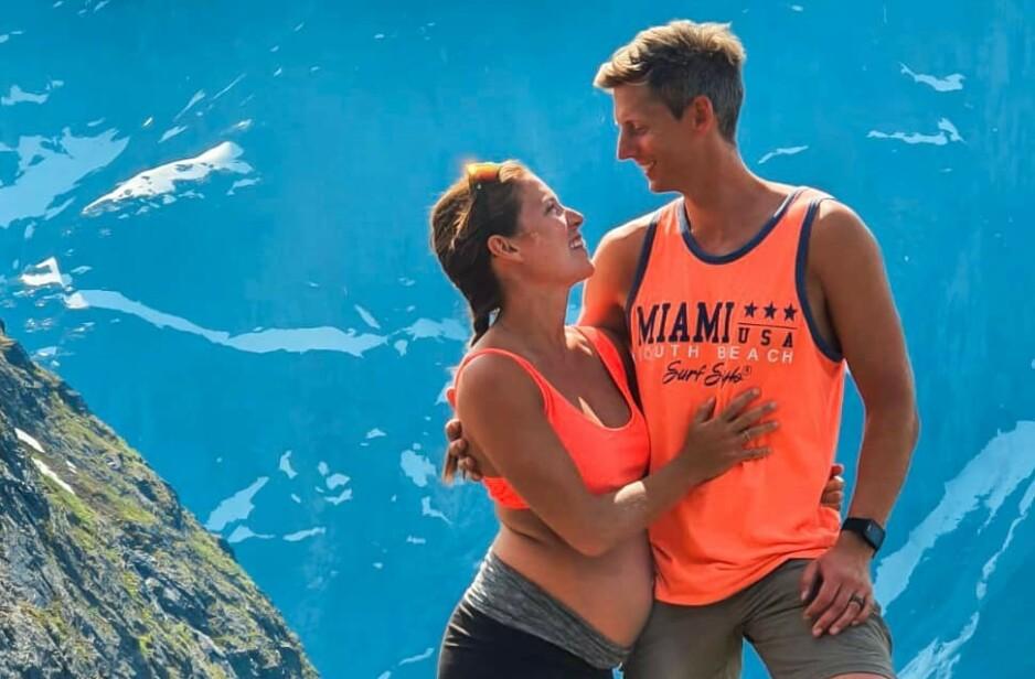 NYFORLOVET: Cathrine Montero Moen og Gaute Grøtta Grav venter sitt første barn sammen - og ble denne helga forlovet. Foto: Privat