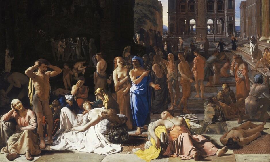 PESTSKILDRING: Maleriet «Plague in an ancient city» av Michael Sweerts ble malt mellom 1652 og 1654, og antas å vise pestepidemien i Athen 430 år f.Kr. Foto: WIKIMEDIA COMMONS / LOS ANGELES COUNTY MUSEUM OF ARTS