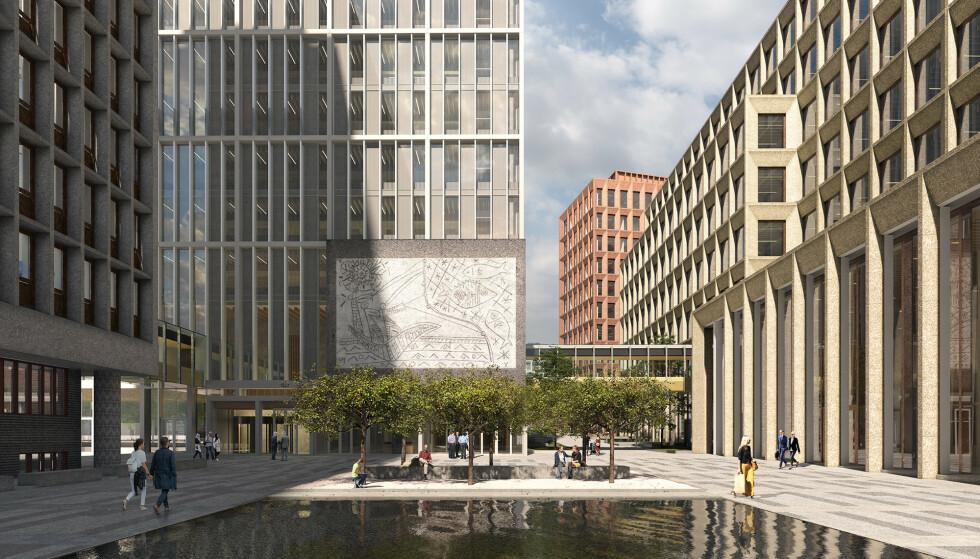 NYTT HJEM: Picassos og Nesjars «Fiskerne» får plass på nye Ernard Gerhardsens plass. Illustrasjon: Statsbygg