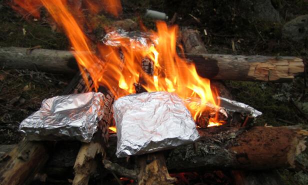 GENIALT: Ostesmørbrød på bålet er smart - og velsmakende - turmat. Foto: utiskogen.net