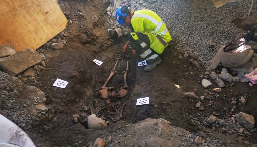 MASSEGRAV: Forrige uke ble det funnet en massegrav i Gamlebyen i Oslo. Foto: Sara Berge Langvik ved NIKU