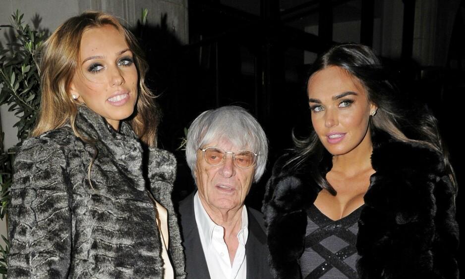 JETSETT: Bernie Ecclestone blir pappa for fjerde gang. Her sammen med jetsettdøtrene Petra (t.v.) og Tamara Ecclestone. Foto: NTB scanpix