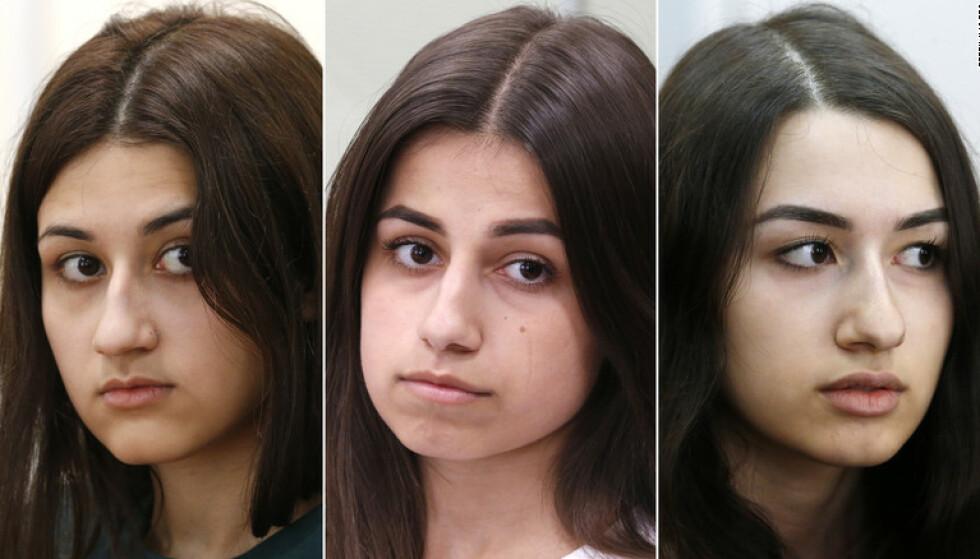 OVERLAGT DRAP: Søstrene Khatsjaturjan er tiltalt for å ha inngått et forbund for å drepe faren med overlegg. De hevder de handlet i selvforsvar. Fra venstre: Krestina, Angelina og Marija Khatsjaturjan, som var henholdsvis 19, 18 og 17 år da faren døde. Foto: NTB