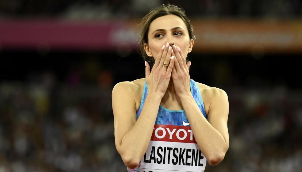 BLIR UTESTENGT: Nå virker det mest sannsynlig at verdensmesteren Marija Lasitskene og resten av de russiske friidrettsstjernene blir nektet å konkurrere internasjonalt. Dommen i saken mot Russland i Idrettens voldgiftsdomstol (CAS) faller i november, og russiske myndigheter nekter å innrømme skyld. Foto: Dylan Martinez / Reuters / NTB Scanpix