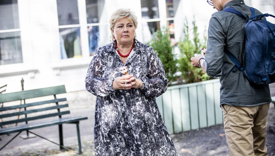 AVVISER: Erna Solberg (H) er ingen tilhenger av obligatorisk coronatesting ved grensene. Foto. Christian Roth Christensen / Dagbladet