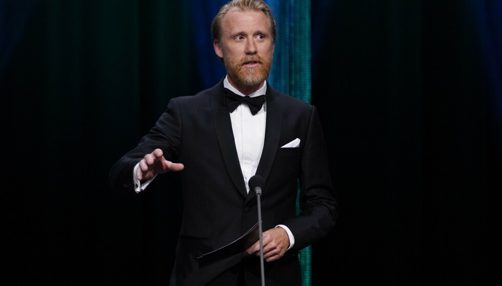 RØRT: Thorbjørn Harr takket sin kone i takketalen da han vant pris under Amanda-utdelingen. Foto: Jan Kåre Ness / NTB scanpix
