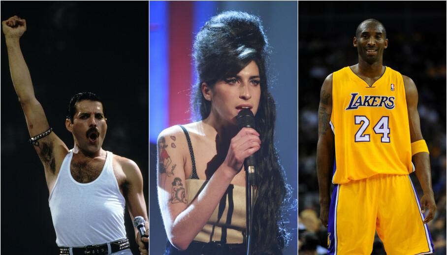 DØDSFALL: Freddie Mercury, Amy Winehouse og Kobe Bryant er bare noen av kjendisene som har mistet livet i ung alder. Her kan du lese om de mest sjokkerende dødsfallene i kjendisverdenen. Foto: NTB Scanpix