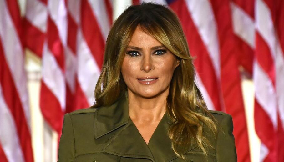 FÅR GJENNOMGÅ: Melania Trump holdt natt til onsdag en tale i Rosehagen utenfor Det hvite hus, og det gikk ikke upåaktet hen. Foto: NTB Scanpix