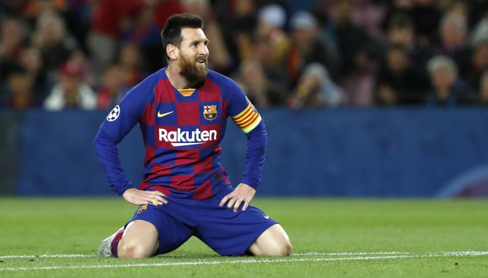 USIKKERT: Lionel Messi i aksjon under sommerens Champions League-sluttspill. (AP Photo/Joan Monfort, File)