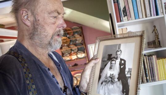 <strong>BRUDEBILDET:</strong> - Jeg møtte Kari på Teaterhøyskolen tidlig på 60-tallet. Vi giftet oss i 1964, forteller Stein Winge. Foto: Anders Grønneberg