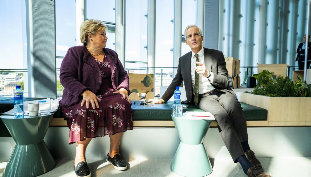 ENORM OPPGAVE: Statsminister Erna Solberg (H) og leder i Arbeiderpartiet Jonas Gahr Støre. Foto: Håkon Mosvold Larsen / NTB