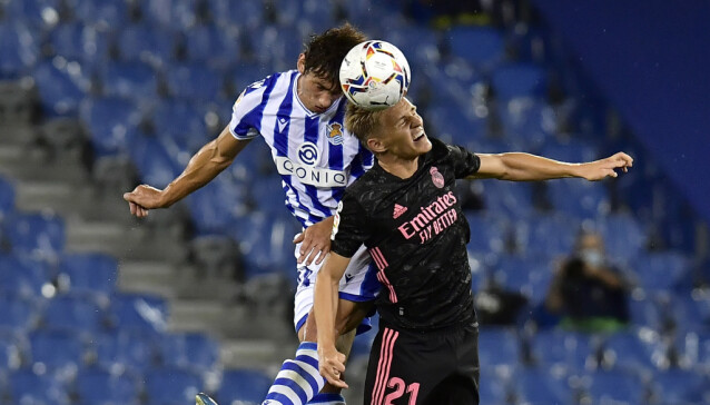 <strong>HODEDUELL:</strong> Kampen mellom Real Sociedad og Real Madrid endte 0-0. Foto: NTB