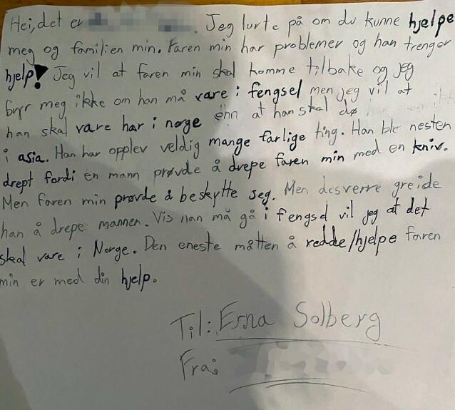 <strong>BREV TIL STATSMINISTEREN:</strong> Rogers ti år gamle datter har sendt dette brevet til statsminister Erna Solberg. Foto: Privat