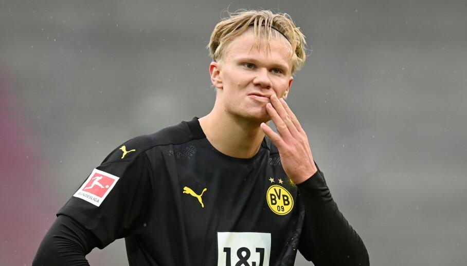 TØFF DAG PÅ JOBB: Erling Braut Haaland og Borussia Dortmund. Foto: NTB