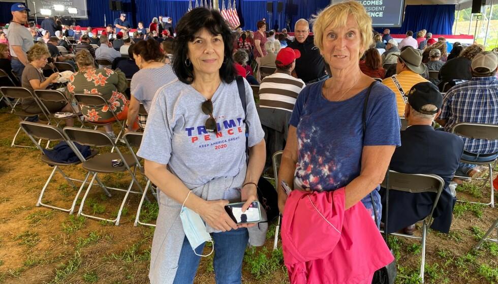 <strong>ANTIFA:</strong> Kathy Fimier (t.v.) og Linda Hassler er mer bekymret for finansieringen av Antifa enn skattene til Trump. Foto: Vegard Kristiansen Kvaale / Dagbladet