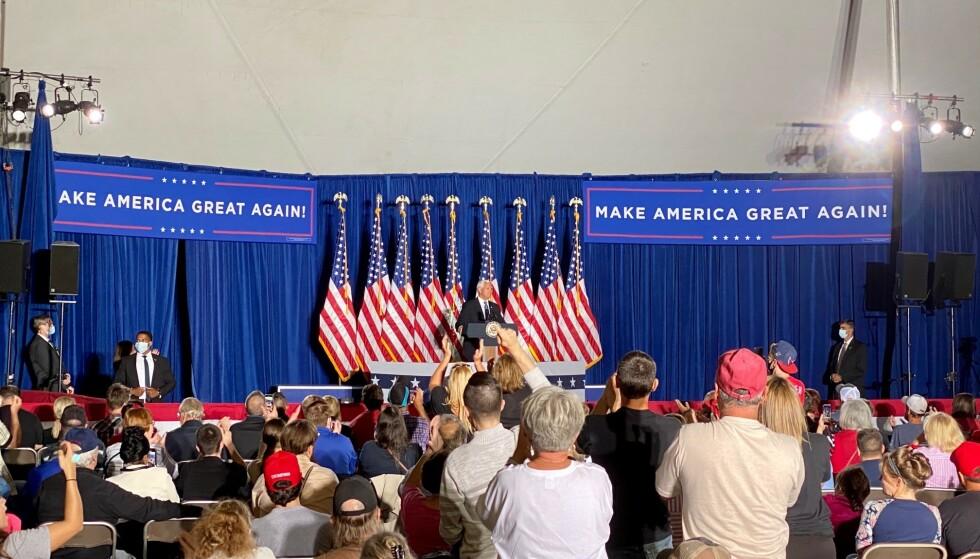 <strong>PÅ PLASS:</strong> Visepresident Mike Pence kom til Lititz i Pennsylvania før den første presidentdebatten. Foto: Vegard Kristiansen Kvaale / Dagbladet