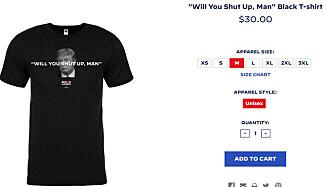 <strong>HOLD KJEFT:</strong> Bidens kampanjeteam har laget en ny t-skjorte etter nattens debatt. Foto: Skjermpdump Joe Bidens nettside.