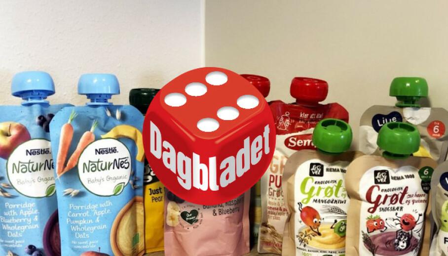 KLEMMEPOSER: Dagbladets eksperter har sjekket og vurdert næringsinnholdet i ti forskjellige klemmeposer med frukt og grøt. Foto: Jenny Mina Rødahl