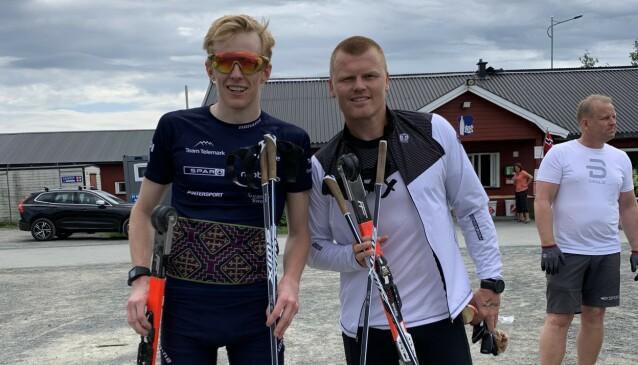 <strong>SAMARBEIDER:</strong> Eirik Mysen kombinerer egen langrennssatsingen med å trene tidligere fotballstjerne John Arne Riise til å få ut sitt potensial som langrennsløper. Foto: Ådne Strandlie