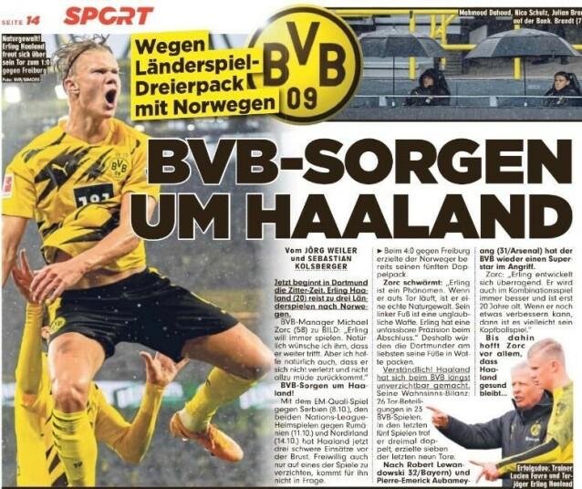 <strong>I OVERSKRIFTENE:</strong> Erling Braut Haaland dominerer tyske overskrifter etter to nye mål mot Freiburg i helga. Her fra storavisa Bild. «BVB-bekymring for Haaland», heter det. Avisa omtaler en potensiell rovdrivt på nordmannen de neste dagene. Norge spiller tre landskamper på under ei uke.