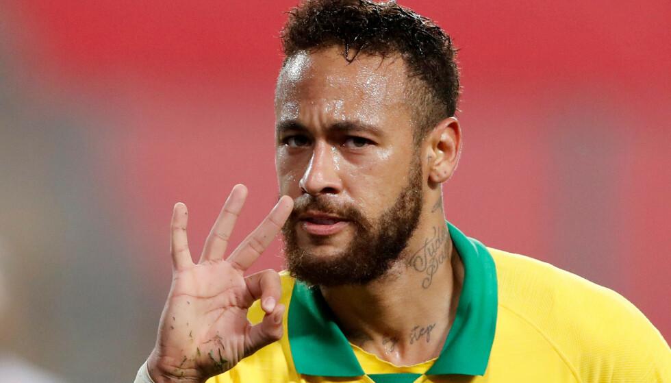 HAT TRICK-HELT: Neymar scoret tre mot Peru forrige tirsdag. Foto: Paolo Aguilar/REUTERS