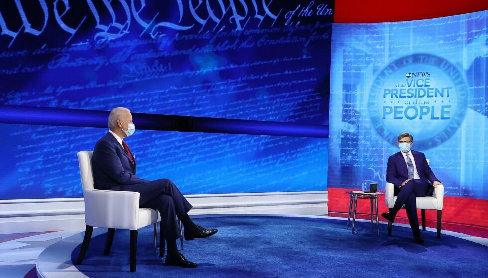 <strong>PHILADELPHIA:</strong> Demokratenes presidentkandidat Joe Biden lovte blant annet å gi et tydelig svar på hvorvidt han vil utvide høyesterett under folkemøtet. Foto: Chip Somodevilla/Getty Images/AFP