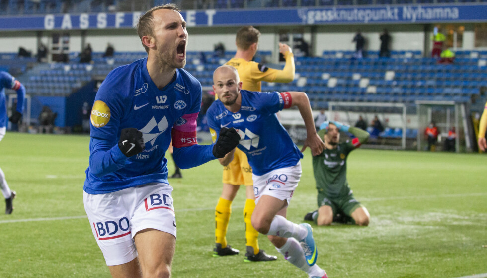 <strong>JUBEL:</strong> Moldes Magnus Wolff Eikrem feirer 1-1 under eliteseriekampen i fotball mellom Molde og Bod/Glimt p Aker Stadion. Foto: Svein Ove Ekornesvg / NTB