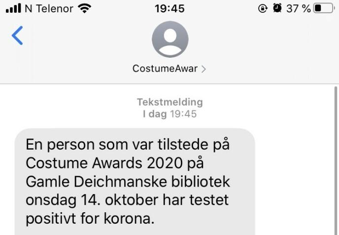 <strong>SENDT MELDING:</strong> Costume har sendt ut denne meldinga.