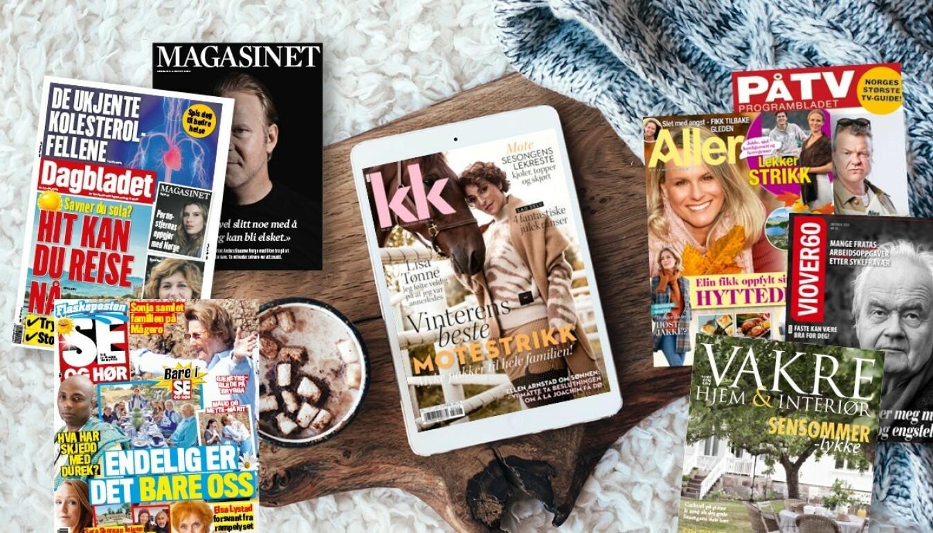 Pling gir deg tilgang til digitalutgavene av Dagbladet, Dagbladet Magasinet, Allers, KK, Se og Hør Tirsdag, Se og Hør Extra (fredagsutgaven), Vakre hjem og Interiør, PåTV og Vi over 60.