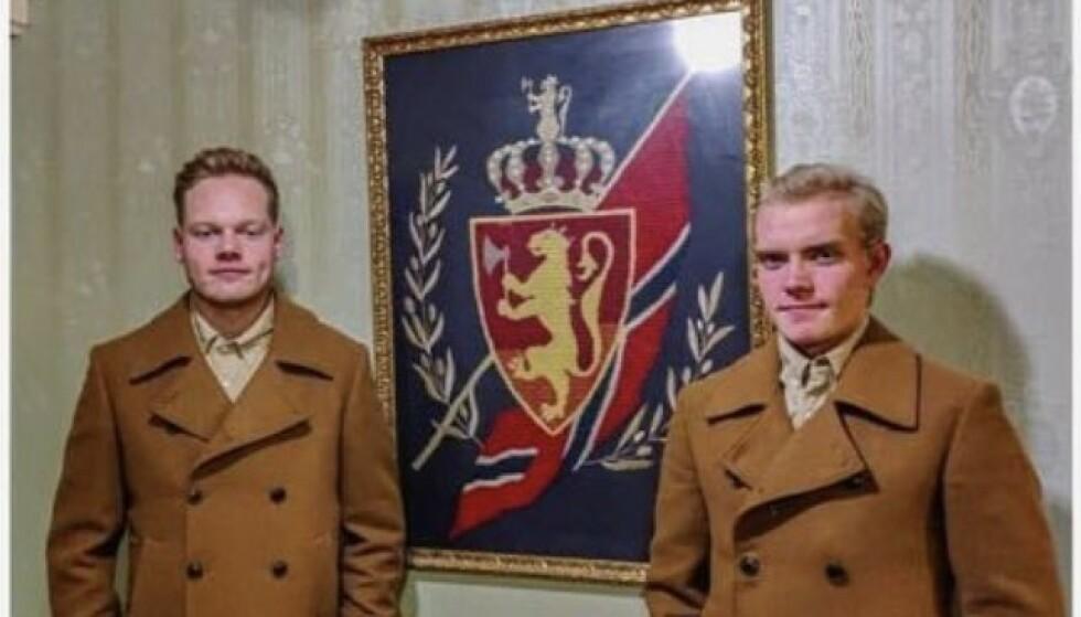 FLAUE: Rudi Ripnes og Oscar Hauge angrer på hvordan de framsto på retrofest. De har nylig gått av som henholdsvis formann og nestformann i Bodø FpU. Foto: Privat via Bodø Nu