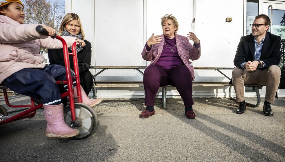 SAMLET: Guri Melby (V), Erna Solberg (H) og Kjell Ingolf Ropstad (KrF) mener at regjeringens kritikere misforstår hva som skaper forskjeller i samfunnet.   Foto: Hans Arne Vedlog / Dagbladet