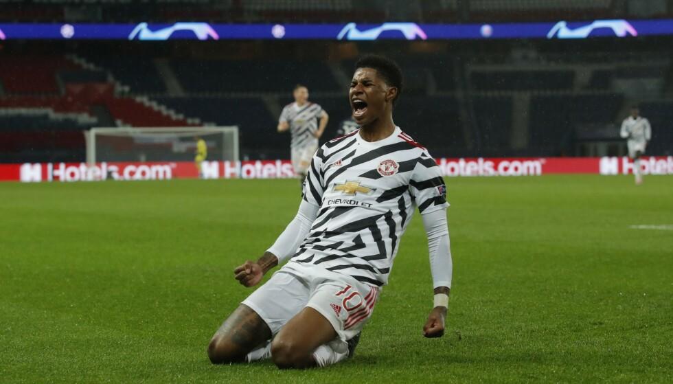 MATCHVINNER: Marcus Rashford sklir bortover gresset etter 2-1-scoringen. REUTERS/Gonzalo Fuentes