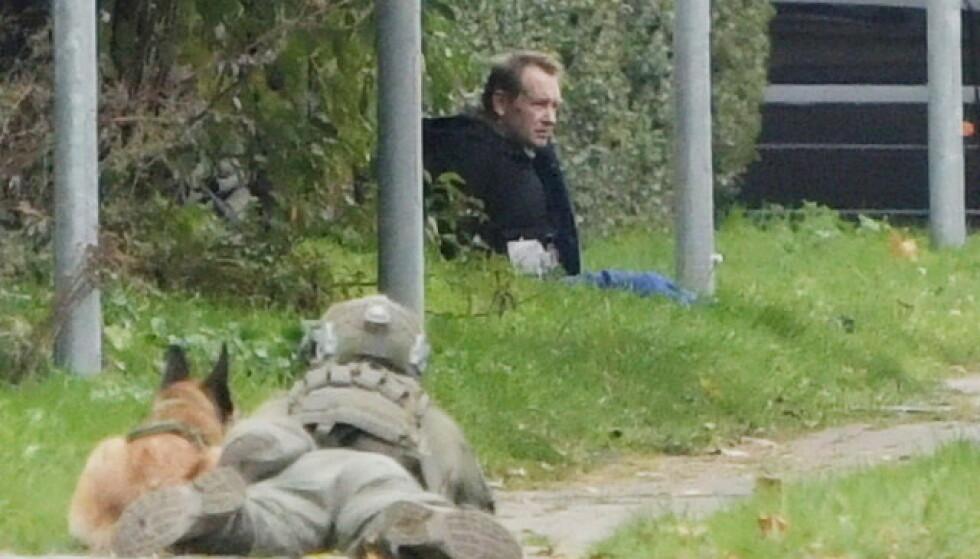 POLITI: Politiet pågrep Madsen etter kort tid. Foto: Nils Meilvang / Ritzau / NTB