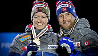 DRØMMEDAGEN: Sjur Røthe jublet for individuelt VM-gull på tremila i Seefeld sammen med bronsevinner Martin Johnsrud Sundby. Foto: Bjørn Langsem / Dagbladet