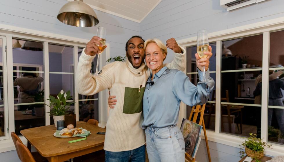 JUBELBRØL: Levi Try og Øyunn Krogh vant torsdag kveld «Sommerhytta» på TV 2. Det ble feiret med jubel. Foto: Robert Dreier Holand/TV 2