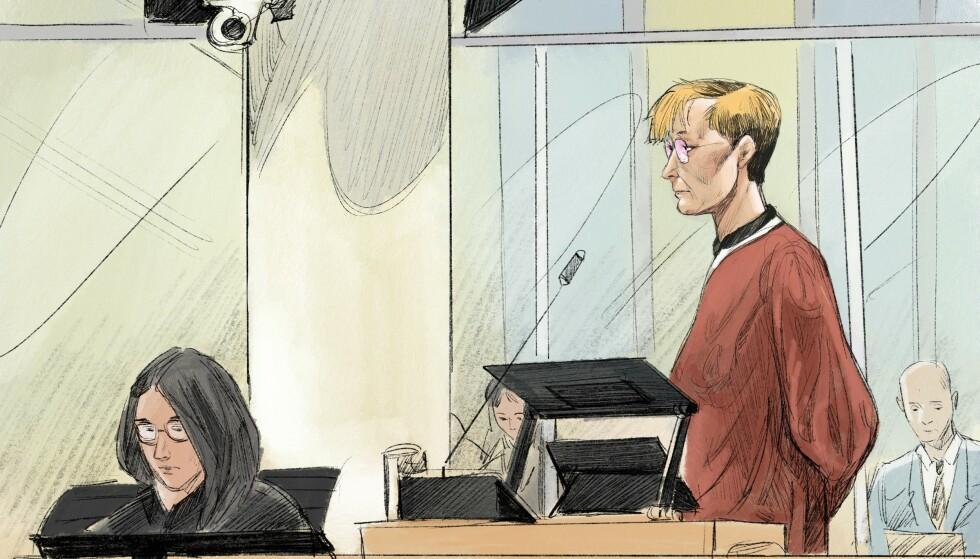 NEKTER SKYLD: 15. januar 2021 faller dommen i Oslo tingrett, hvor påtalemyndigheten mener Laila Bertheussen bør dømmes til to års fengsel. Tegning: Fedor Sapegin