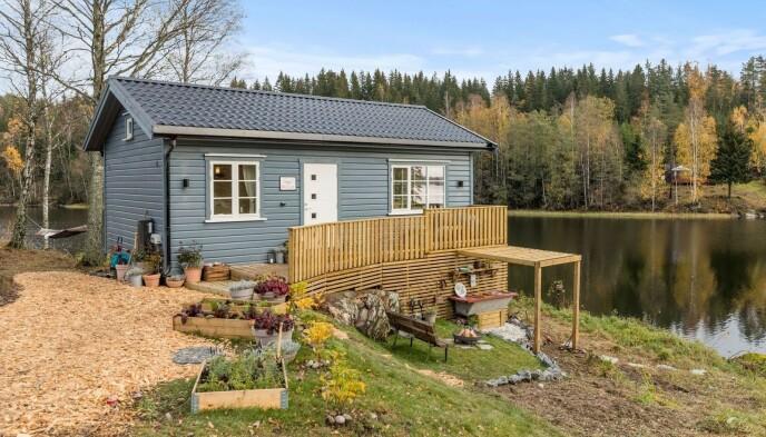 STOR VERDI: Hytta har en takst på tre millioner kroner, og er nå i parets eie. Den ligger idyllisk til rett ved vannet. Foto: Robert Dreier Holand/TV 2