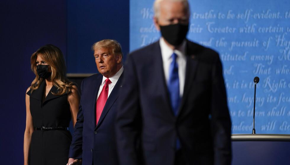 MØTTES: For første gang på tre uker møttes Donald Trump og Joe Biden til duell. Foto: AP Photo/Julio Cortez/NTB