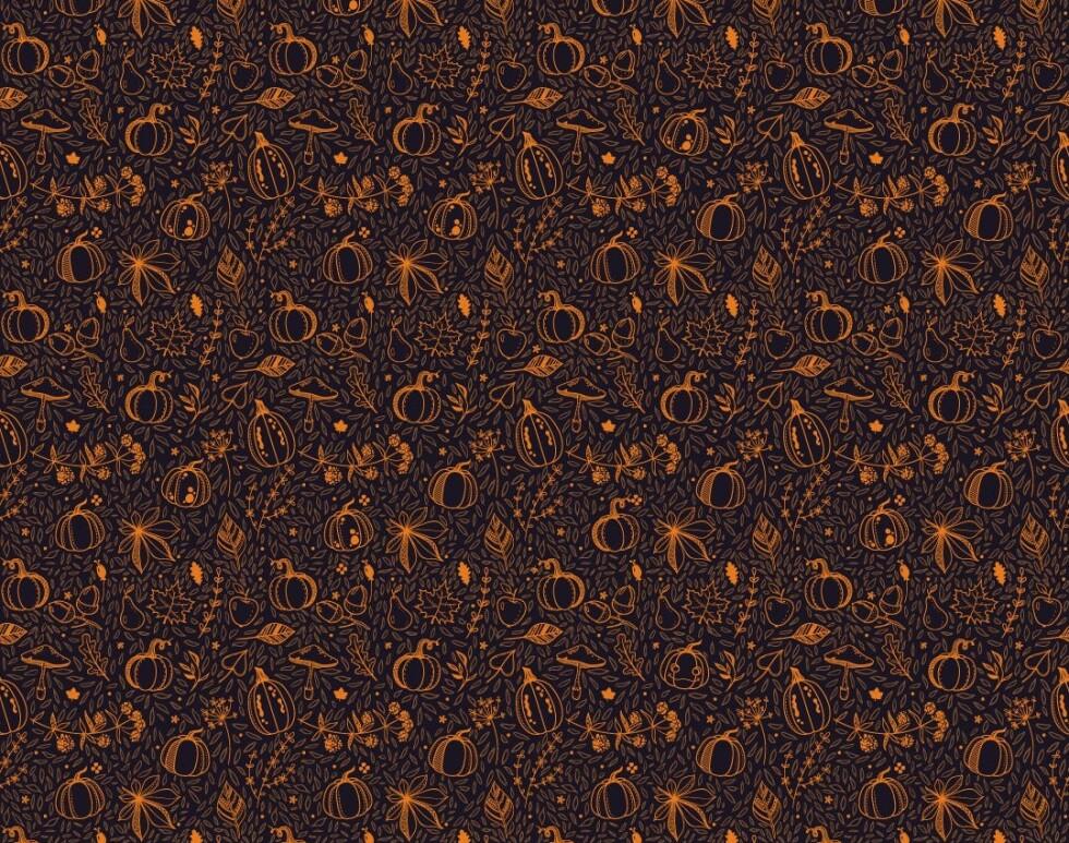 HALLOWEEN-GRESSKAR: Dette mønsteret har fått massiv omtale i utenlandske medier den siste uka. Ved første øyekast ser de fleste et gjentakende mønster av gresskar, blader frukt og andre høsttegn, men her skjuler det seg også et halloween-gresskar. Klarer du å se det? Foto: 247 Blinds