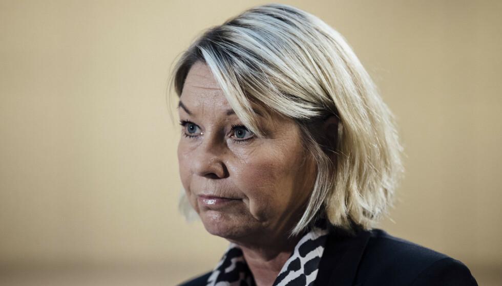 Justis- og beredskapsminister Monica Mæland ber utlendingsmyndighetene være konsekvent i bortvisningen av hatpredikanter. Foto: Jil Yngland / NTB