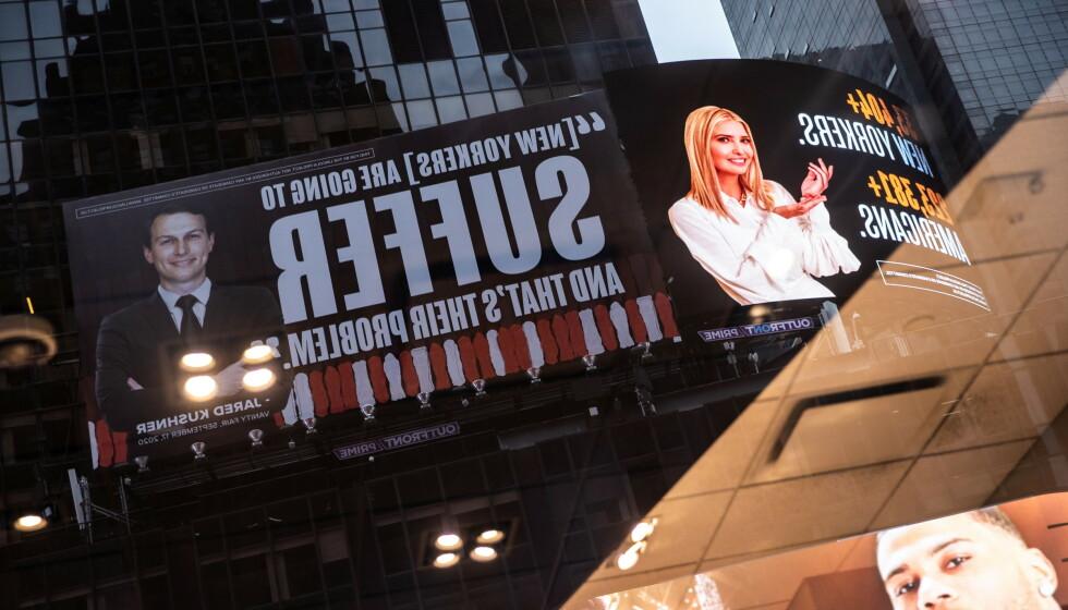 REAGERER: Det er disse reklameskiltene som får Ivanka Trump og hennes ektemann til å reagere. Foto: Jeenah Moon / Reuters / NTB
