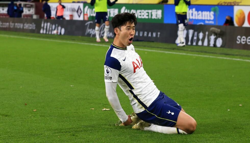 MÅLJUBEL: Son Heung-min jubler for 1-0-scoringen. Foto: NTB