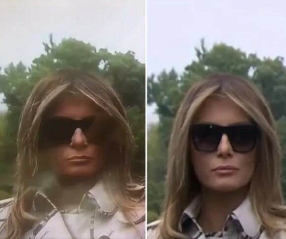 SAMMENLIGNET: Til venstre ser man mobilopptaket, mens til høyre ser man det originale opptaket fra CNN av Melania Trump. Foto: Snopes