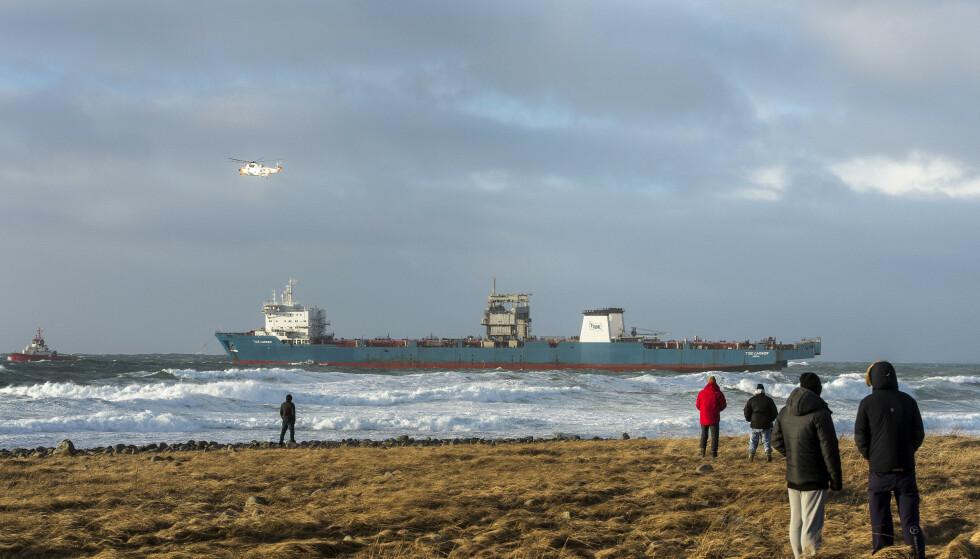 Lasteskipet Tide Carrier forliste utenfor Klepp i februar 2017. Foto: Carina Johansen / NTB