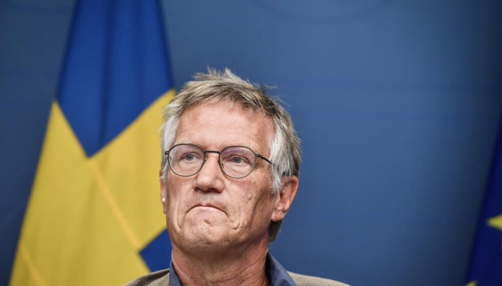 Sveriges statsepidemiolog Anders Tegnell, her under en pressekonferanse i juli. Foto: Naina Helén Jåma / TT NYHETSBYRÅN / NTB