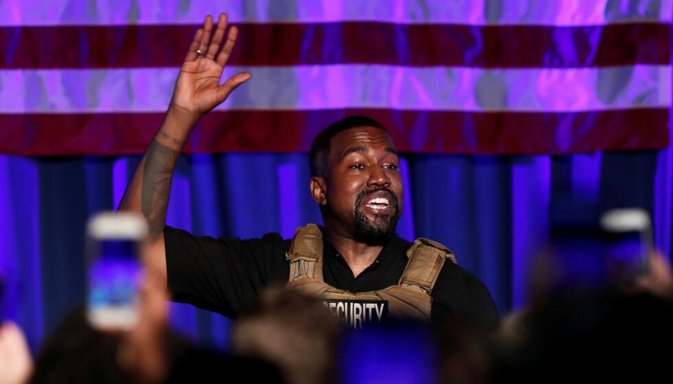 OPPSIKTSVEKKENDE VALGKAMPMØTE: Kanye West skapte furore etter dette møtet i Sør-Carolina i juli. Foto: Randall Hill/Reuters/NTB