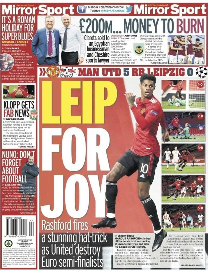 JUBEL I SPALTENE: Engelske aviser tar av etter seieren. Her torsdagens utgave av Daily Mirror.