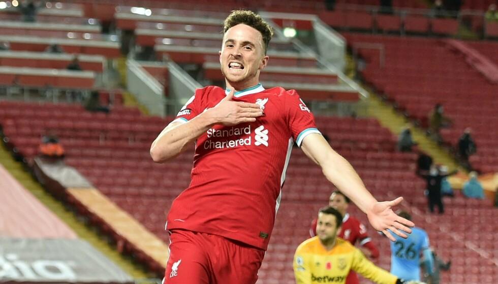 MÅLJUBEL: Diogo Jota jubler etter 2-1-scoringen til Liverpool. Foto: NTB